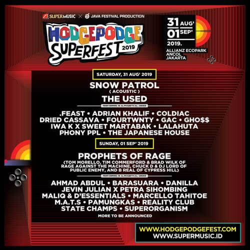 Hodgepodge Superfest 2019 Daily Schedule